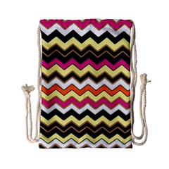 Colorful Chevron Pattern Stripes Drawstring Bag (small) by Amaryn4rt