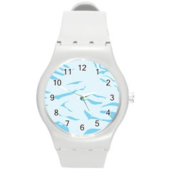 Blue Tiger Animal Pattern Digital Round Plastic Sport Watch (m) by Amaryn4rt