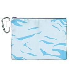 Blue Tiger Animal Pattern Digital Canvas Cosmetic Bag (xl) by Amaryn4rt