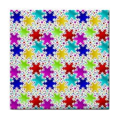 Snowflake Pattern Repeated Tile Coasters by Amaryn4rt