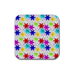 Snowflake Pattern Repeated Rubber Coaster (square)  by Amaryn4rt