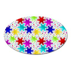 Snowflake Pattern Repeated Oval Magnet by Amaryn4rt