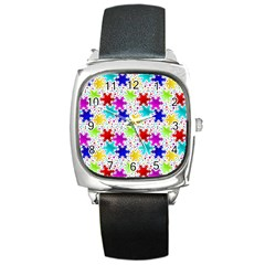 Snowflake Pattern Repeated Square Metal Watch by Amaryn4rt