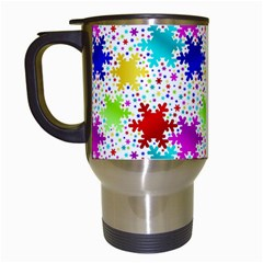 Snowflake Pattern Repeated Travel Mugs (white) by Amaryn4rt