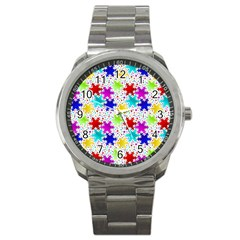Snowflake Pattern Repeated Sport Metal Watch by Amaryn4rt