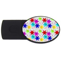 Snowflake Pattern Repeated Usb Flash Drive Oval (4 Gb) by Amaryn4rt