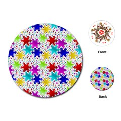 Snowflake Pattern Repeated Playing Cards (round)  by Amaryn4rt