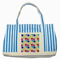 Snowflake Pattern Repeated Striped Blue Tote Bag by Amaryn4rt
