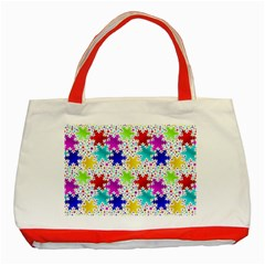 Snowflake Pattern Repeated Classic Tote Bag (red) by Amaryn4rt