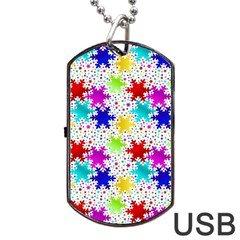 Snowflake Pattern Repeated Dog Tag Usb Flash (one Side) by Amaryn4rt