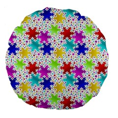 Snowflake Pattern Repeated Large 18  Premium Flano Round Cushions by Amaryn4rt