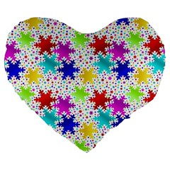 Snowflake Pattern Repeated Large 19  Premium Flano Heart Shape Cushions by Amaryn4rt