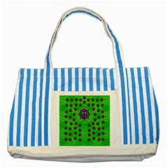 Smoking Hot Cartoon Lady Striped Blue Tote Bag by pepitasart