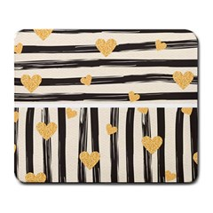 Black Lines And Golden Hearts Pattern Large Mousepads by TastefulDesigns