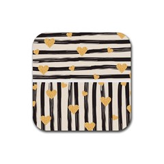 Black Lines And Golden Hearts Pattern Rubber Coaster (square)  by TastefulDesigns