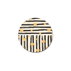 Black Lines And Golden Hearts Pattern Golf Ball Marker (4 Pack)