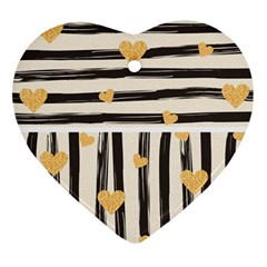 Black Lines And Golden Hearts Pattern Heart Ornament (two Sides) by TastefulDesigns