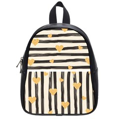 Black Lines And Golden Hearts Pattern School Bags (small)  by TastefulDesigns