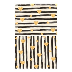 Black Lines And Golden Hearts Pattern Shower Curtain 48  X 72  (small)  by TastefulDesigns