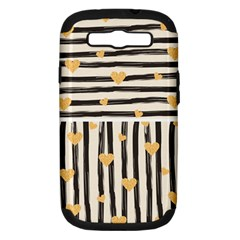 Black Lines And Golden Hearts Pattern Samsung Galaxy S Iii Hardshell Case (pc+silicone) by TastefulDesigns
