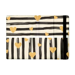 Black Lines And Golden Hearts Pattern Apple Ipad Mini Flip Case by TastefulDesigns