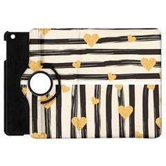 Black Lines And Golden Hearts Pattern Apple Ipad Mini Flip 360 Case by TastefulDesigns