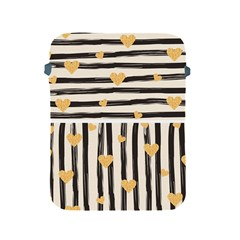 Black Lines And Golden Hearts Pattern Apple Ipad 2/3/4 Protective Soft Cases by TastefulDesigns