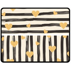 Black Lines And Golden Hearts Pattern Double Sided Fleece Blanket (medium)  by TastefulDesigns