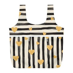 Black Lines And Golden Hearts Pattern Full Print Recycle Bags (l)  by TastefulDesigns
