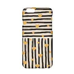 Black Lines And Golden Hearts Pattern Apple Iphone 6/6s Hardshell Case by TastefulDesigns