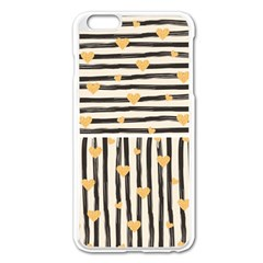 Black Lines And Golden Hearts Pattern Apple Iphone 6 Plus/6s Plus Enamel White Case by TastefulDesigns