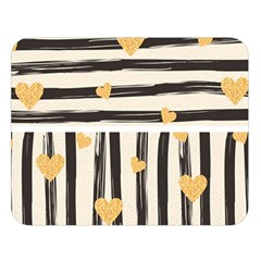 Black Lines And Golden Hearts Pattern Double Sided Flano Blanket (large)  by TastefulDesigns