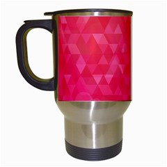Abstract Red Octagon Polygonal Texture Travel Mugs (white) by TastefulDesigns