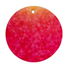 Abstract Red Octagon Polygonal Texture Round Ornament (two Sides) by TastefulDesigns
