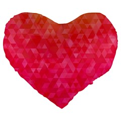 Abstract Red Octagon Polygonal Texture Large 19  Premium Flano Heart Shape Cushions by TastefulDesigns