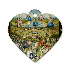 Hieronymus Bosch Garden Of Earthly Delights Dog Tag Heart (one Side) by MasterpiecesOfArt