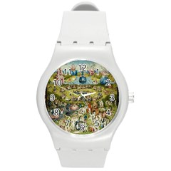 Hieronymus Bosch Garden Of Earthly Delights Round Plastic Sport Watch (m) by MasterpiecesOfArt