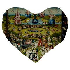 Hieronymus Bosch Garden Of Earthly Delights Large 19  Premium Heart Shape Cushions by MasterpiecesOfArt