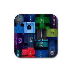 Door Number Pattern Rubber Square Coaster (4 Pack)  by Amaryn4rt