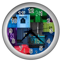 Door Number Pattern Wall Clocks (silver)  by Amaryn4rt