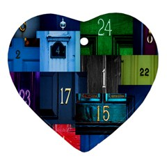 Door Number Pattern Heart Ornament (two Sides) by Amaryn4rt