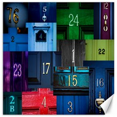 Door Number Pattern Canvas 16  X 16   by Amaryn4rt