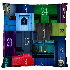 Door Number Pattern Large Cushion Case (two Sides) by Amaryn4rt