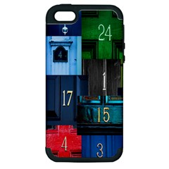 Door Number Pattern Apple Iphone 5 Hardshell Case (pc+silicone) by Amaryn4rt