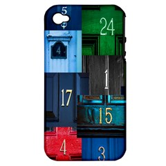 Door Number Pattern Apple Iphone 4/4s Hardshell Case (pc+silicone) by Amaryn4rt