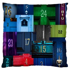 Door Number Pattern Large Flano Cushion Case (one Side)