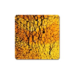 Yellow Chevron Zigzag Pattern Square Magnet