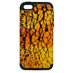 Yellow Chevron Zigzag Pattern Apple Iphone 5 Hardshell Case (pc+silicone) by Amaryn4rt
