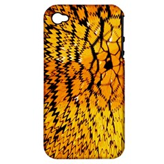 Yellow Chevron Zigzag Pattern Apple Iphone 4/4s Hardshell Case (pc+silicone) by Amaryn4rt