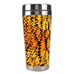 Yellow Chevron Zigzag Pattern Stainless Steel Travel Tumblers by Amaryn4rt